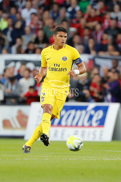 Thiago Silva (PSG) during the French championship L1 football match between EA Guingamp v Paris Saint-Germain, on August 13, 2017 at the Roudourou stadium in Guingamp, France - Photo Stephane Allaman / ProSportsImages / DPPI