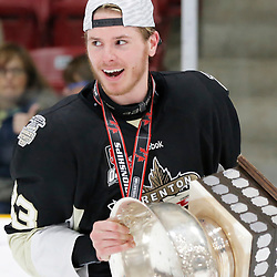 TRENTON, ON  - MAY 6,  2017: Canadian Junior Hockey League, Central Canadian Jr. &quot;A&quot; Championship. The Dudley Hewitt Cup Championship Game between The Trenton Golden Hawks and The Georgetown Raiders. James Thomson #33 of the Trenton Golden Hawks during post game celebrations. <br /> (Photo by Amy Deroche / OJHL Images)