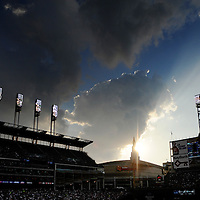 CLEVELAND, OH USA - JULY 6: The sun sets over downtown Cleveland during the game between the Cleveland Indians and the New York Yankees at Progressive Field in Cleveland, OH, USA on Wednesday, July 6, 2011.