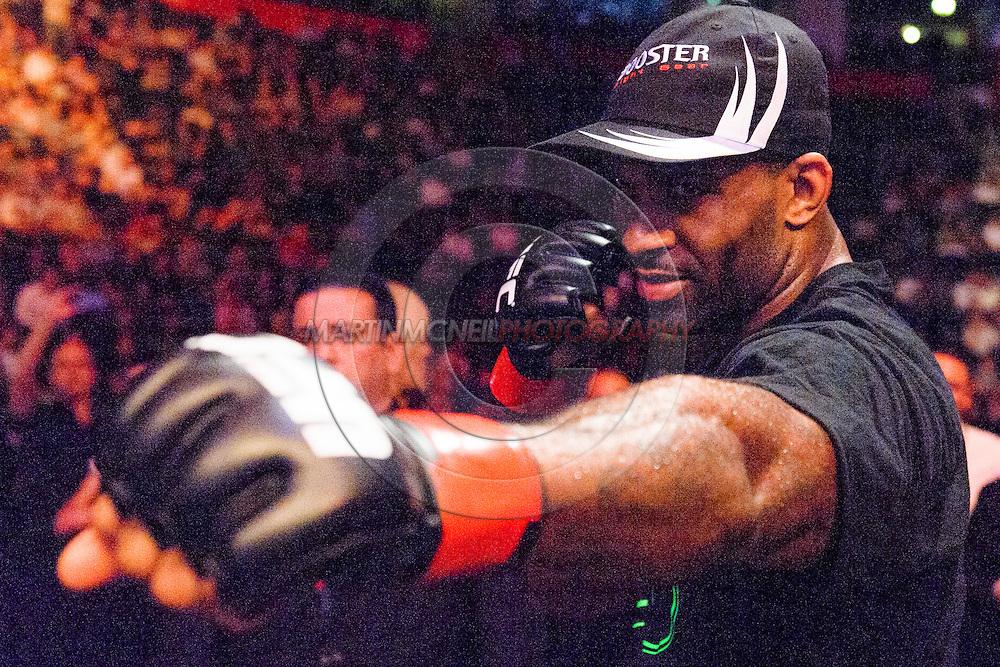 "MANCHESTER, ENGLAND, OCTOBER 26, 2013: Jimi Manuwa celbrates his win during ""UFC Fight Night 30: Machida vs. Munoz"" inside Phones4U Arena in Manchester, England (© Martin McNeil)"