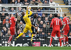 NEWCASTLE, ENGLAND - Sunday, February 3, 2008: Newcastle United's Joey Barton challenges Middlesbrough''s goalkeeper Mark Schwarzer before the Newcastle United goal is disallowed during the Premiership match at St James' Park. (Photo by David Rawcliffe/Propaganda)