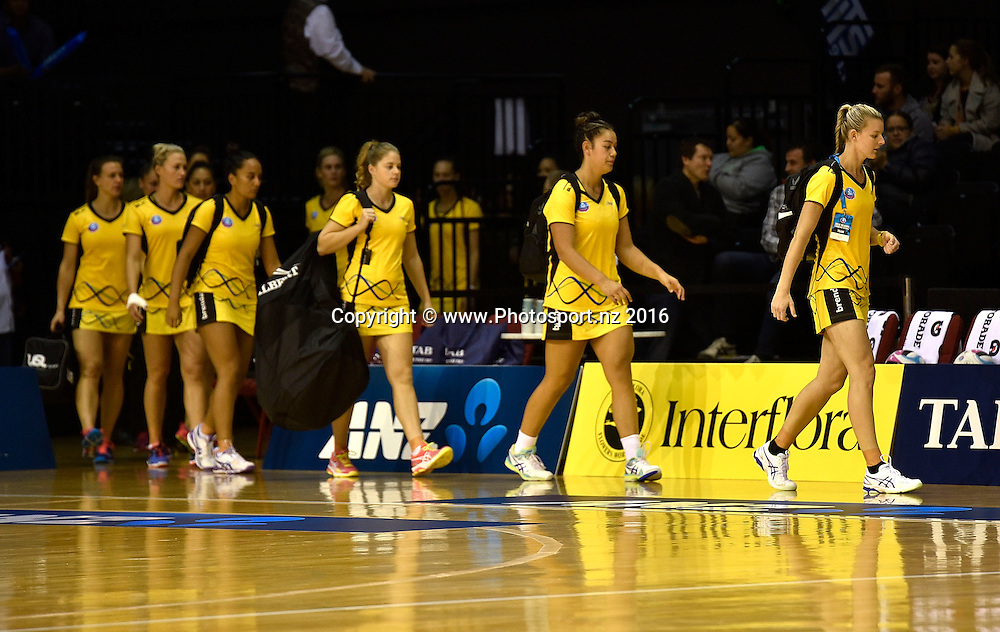 Pulse's captain Katrina Grant leads her team onto the court during the ANZ Champs - Pulse v Mystics netball match at TSB Arena in Wellington on Monday the 18 April 2016. Copyright Photo by Marty Melville / www.Photosport.nz