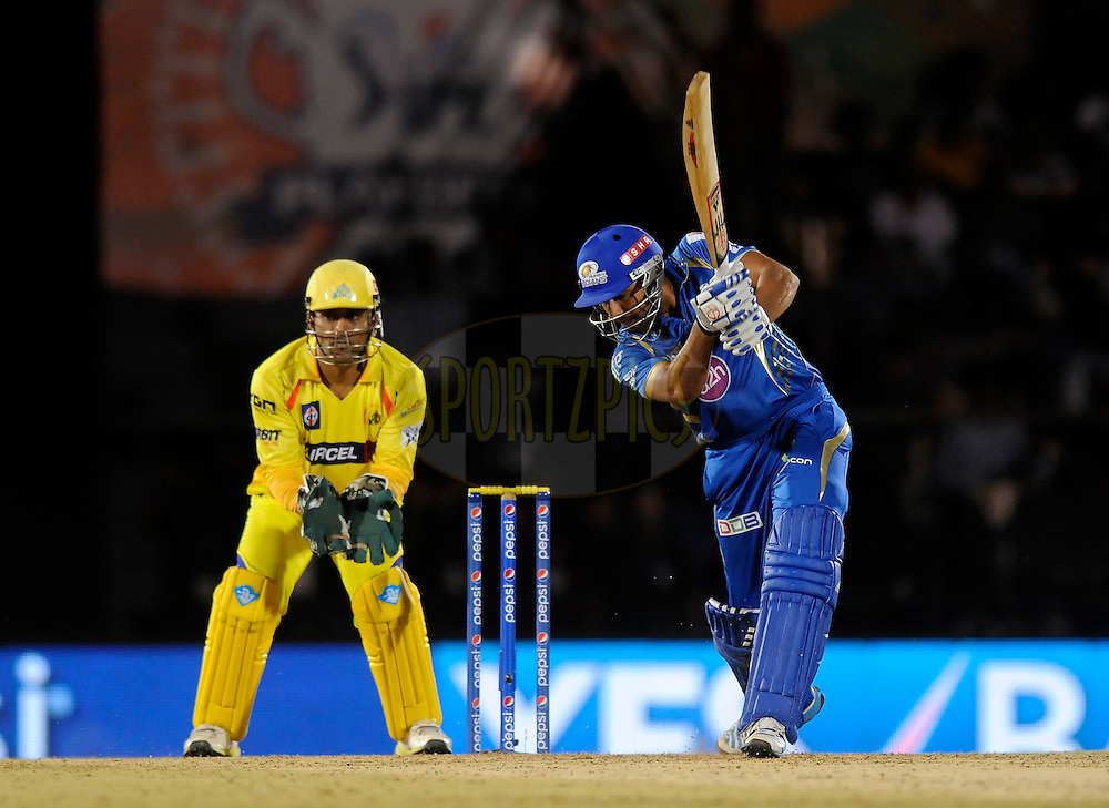 Rohit Sharma captain of the Mumbai Indians bats during the eliminator match of the Pepsi Indian Premier League Season 2014 between the Chennai Superkings and the Mumbai Indians held at the Brabourne Stadium, Mumbai, India on the 28th May  2014<br /> <br /> Photo by Pal PIllai / IPL / SPORTZPICS<br /> <br /> <br /> <br /> Image use subject to terms and conditions which can be found here:  http://sportzpics.photoshelter.com/gallery/Pepsi-IPL-Image-terms-and-conditions/G00004VW1IVJ.gB0/C0000TScjhBM6ikg
