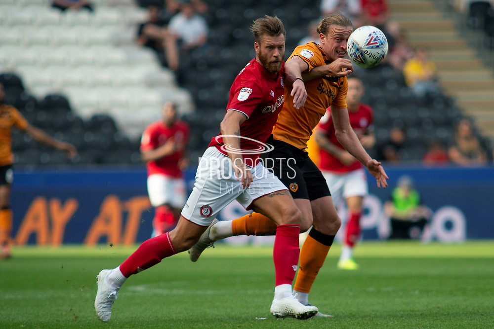 Tom Eaves of Hull City during the EFL Sky Bet Championship match between Hull City and Bristol City at the KCOM Stadium, Kingston upon Hull, England on 24 August 2019.