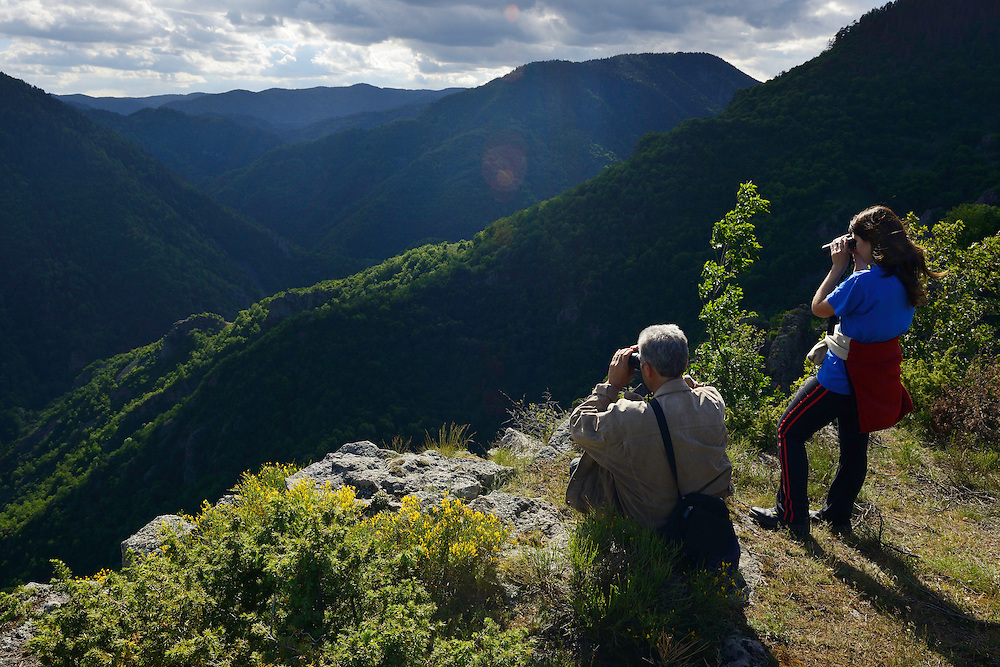 Vlado Peikov and Dani Yordanka, wildlife watching ecotourism, Deven area, Western Rhodope mountains, Bulgaria