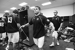 28 May 2007: Duke Blue Devils defenseman Tony McDevitt (44) pregame in the locker room before playing Johns Hopkins in the NCAA Championship at M&T Stadium in Baltimore, MD.