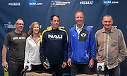 New Mexico Lobos coach Joe Franklin, USF Dons coach Helen Lehman-Winters, Northern Arizona Lumberjacks coach Michael Msith, BYU Cougars coach Ed Eyestone and Colorado Buffaloes coach Mark Wetmore pose during a press conference prior to the NCAA cross country championships at the Sawyer Hayes Community Center in Louisville, Ky. on Friday, Nov. 17, 2017.