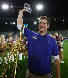 06.07.2013, Tivoli Stadion, Innsbruck, AUT, EFL Finale, Eurobowl XXVII, Swarco Raiders Tirol (AUT) vs Raiffeisen Vikings Vienna (AUT), im Bild Chris Calaycay, (Raiffeisen Vikings Vienna, Head Coach) mit dem Pokal // during the Eurobowl XXVII between Swarco Raiders Tirol (AUT) and Raiffeisen Vikings Vienna (AUT) at the Tivoli Stadion, Innsbruck, Austria on 2013/07/06. EXPA Pictures © 2013, PhotoCredit: EXPA/ Thomas Haumer
