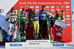 19.01.2019, Idre Fjall, Idre, SWE, FIS Weltcup Ski Cross, Siegerehrung, im Bild Midol Bastien (FRA), Thompson Marielle CAN Zacher Heidi GER, Fiva Alex (SUI), Smith Fanny and Traxler Daniel (AUT) // during the winner Ceremony of the FIS Ski Cross World Cup at the Idre Fjall in Idre, Sweden on. EXPA Pictures © #JAHR#, PhotoCredit: EXPA/ Nisse Schmidt<br /> <br /> *****ATTENTION - OUT of SWE*****