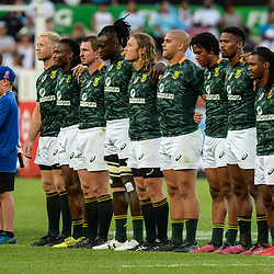 National Anthem at the 2018 HSBC World Sevens Series Hamilton Final between South Africa and Fiji at FMG Stadium in Hamilton, New Zealand on Sunday, 4 February 2018. Photo: Sarah Lord / lintottphoto.co.nz