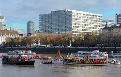 A flotilla of vessels led by The Havengore sailed along the River Thames from London Bridge to the Palace of Westminster. A 2 minutes silence took place, the end signaled by the horn of Havengore. After a small service a biodegradable Wreath was placed into the water. London, 11 November 2018.