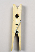 close up of a wooden clothespin
