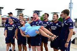 Bristol Rugby players have their photo taken with fans as the Bristol Rugby team support Bristol City Council's Clean Streets campaign on Mandela Day by helping cleaning the streets at Millennium Square - Mandatory by-line: Dougie Allward/JMP - 18/07/2017 - FOOTBALL - Millennium Square - Bristol, England - Mandella Day Bristol Rugby
