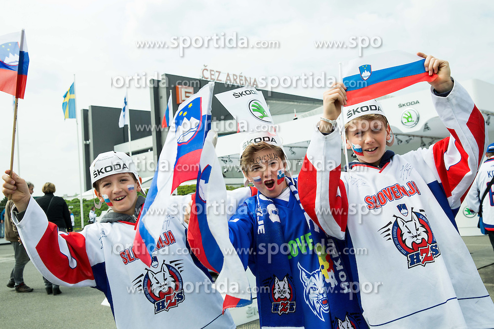 Fans of Slovenia in fan zone prior to the Ice Hockey match between Belarus and Slovenia at Day 2 in Group B of 2015 IIHF World Championship, on May 2, 2015 in CEZ Arena, Ostrava, Czech Republic. Photo by Vid Ponikvar / Sportida