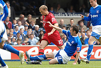 Photo: Ashley Pickering.<br /> Ipswich Town v Cardiff City. Coca Cola Championship. 06/05/2007.<br /> Warren Feeney of Cardiff (no. 37) rides a tackle from Gavin Williams of Ipswich