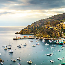 Catalina Island California sunrise panorama with the Pacific Ocean and mountains. Catalina Island is a popular destination off the coast of Southern California in the United States.