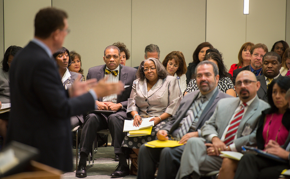 Houston ISD superintendent Dr. Terry Grier addresses principals during their monthly meeting, September 4, 2013.