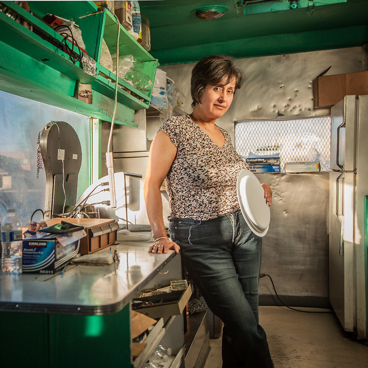 """Olivia Barajas, owner of Benny's Food Wagon, mid-town Anchorage.  """"Someday I would like to move back to Mexico but the crime is too high.""""   blackrose_249@hotmail.com"""