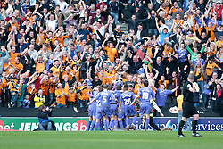 Wlves celebrate after Wolverhampton Wanderers forward Liam McAlinden scores  - Photo mandatory by-line: Nigel Pitts-Drake/JMP - Tel: Mobile: 07966 386802 29/03/2014 - SPORT - FOOTBALL -  Stadium MK - Milton Keynes - Milton Keynes Dons v Wolverhampton Wanderers - Sky Bet League One
