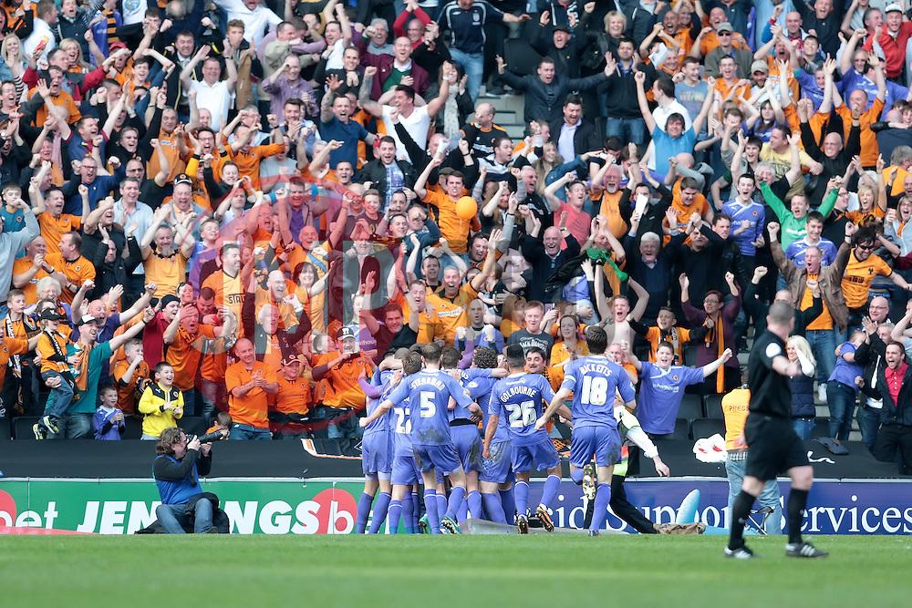 Wlves celebrate after Wolverhampton Wanderers forward Liam McAlinden scores  - Photo mandatory by-line: Nigel Pitts-Drake/JMP - Tel: Mobile: 07966 386802 29/03/2014 - SPORT - FOOTBALL -  Stadium MK - Milton Keynes - Milton Keynes Dons v Wolverhampton Wanderers - Sky Bet League One