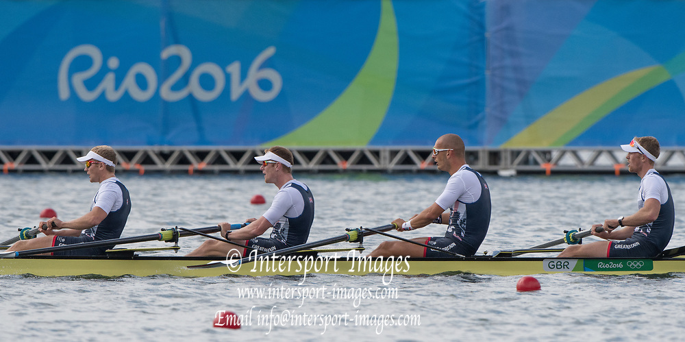 Rio de Janeiro. BRAZIL.  GBR M4-, Bow Alex GREGORY, Mohamed SBIHI, George NASH and Constantine LOULOUDIS. 2016 Olympic Rowing Regatta. Lagoa Stadium,<br /> Copacabana,  &ldquo;Olympic Summer Games&rdquo;<br /> Rodrigo de Freitas Lagoon, Lagoa. Local Time 09:46:13  Thursday  11/08/2016 <br /> [Mandatory Credit; Peter SPURRIER/Intersport Images]