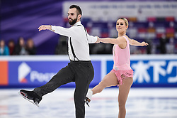MOSCOW, Nov. 17, 2018  Ashley Cain and Timothy Leduc (L) of the United States compete during pairs short at the Rostelecom Cup 2018 ISU Grand Prix of Figure Skating in Moscow, Russia, on Nov. 16, 2018. (Credit Image: © Xinhua via ZUMA Wire)