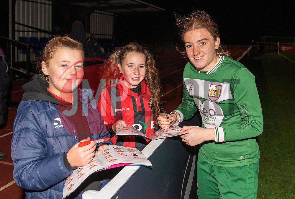 Sophie Baggaley of Bristol City signs an autograph - Mandatory by-line: Paul Knight/JMP - 17/11/2018 - FOOTBALL - Stoke Gifford Stadium - Bristol, England - Bristol City Women v Liverpool Women - FA Women's Super League 1