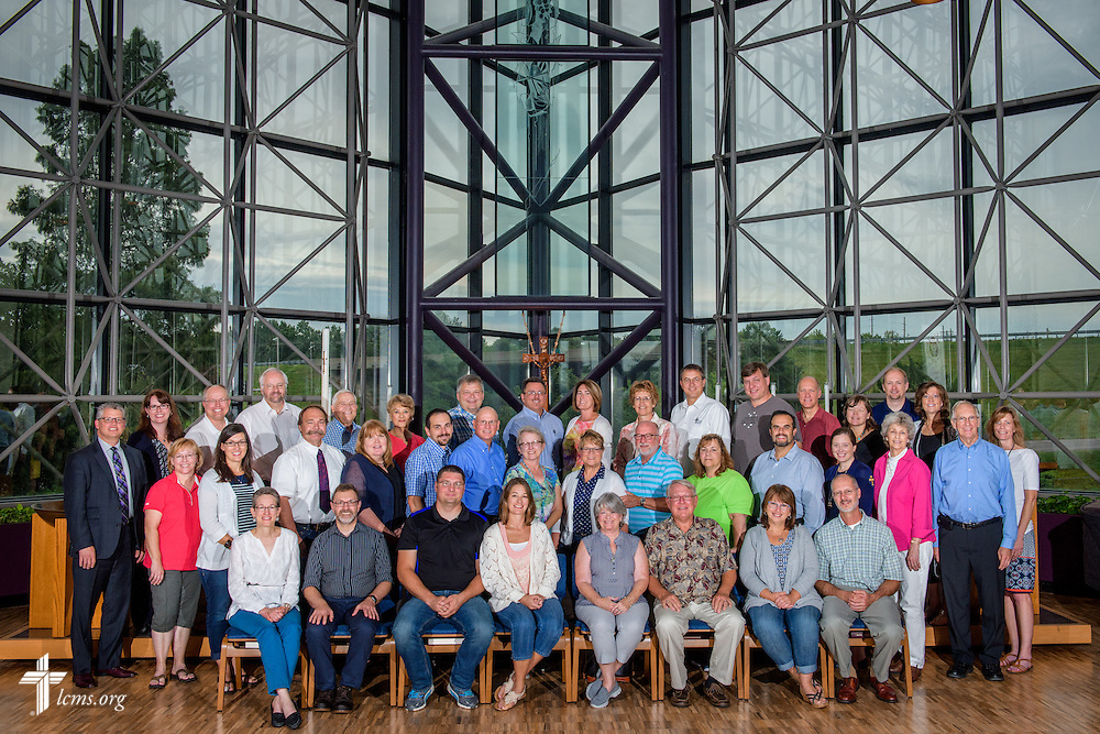 Group photograph of PALS, or Post-seminary Applied Learning and Support, in the chapel of The Lutheran Church–Missouri Synod on Tuesday, Aug. 2, 2016, in Kirkwood, Mo. LCMS Communications/Erik M. Lunsford