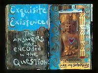 Buddha artist's journal mixed medium collage.