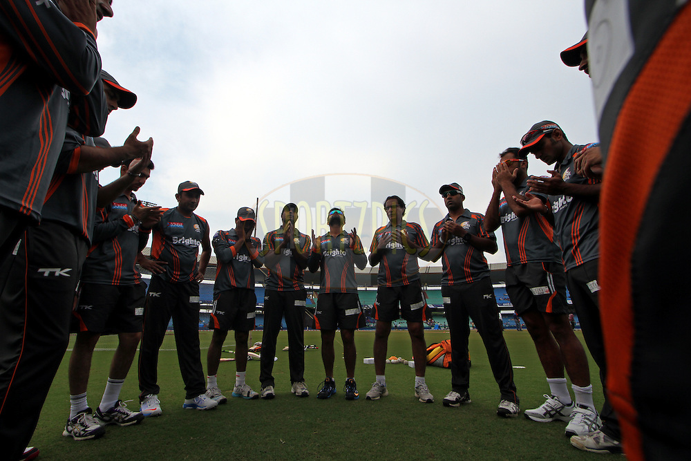 LAHORE LIONS Players praying before the  qualifier 3 match of the Oppo Champions League Twenty20 between the Northern Knights and the Lahore Lions held at the Chhattisgarh International Cricket Stadium, Raipur, India on the 14th September 2014<br /> <br /> Photo by:  Deepak Malik / Sportzpics/ CLT20<br /> <br /> <br /> Image use is subject to the terms and conditions as laid out by the BCCI/ CLT20.  The terms and conditions can be downloaded here:<br /> <br /> http://sportzpics.photoshelter.com/gallery/CLT20-Image-Terms-and-Conditions-2014/G0000IfNJn535VPU/C0000QhhKadWcjYs