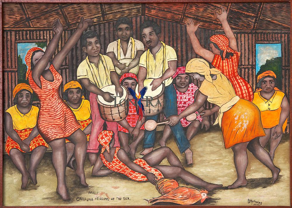 Art work of Garifuna dugu by Benjamin Nicholas, Stann Creek District, Belize