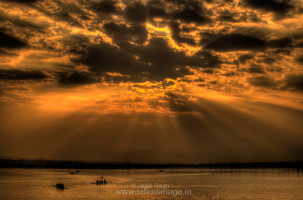 Golden Rays of God at Sukhna lake, Chandigarh.