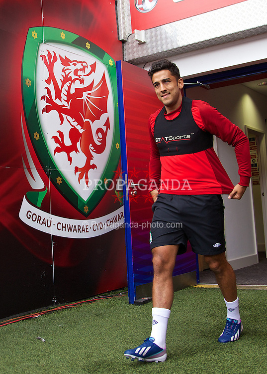 CARDIFF, WALES - Tuesday, August 13, 2013: Wales' Neil Taylor during a training session at the Cardiff City Stadium ahead of the International Friendly match against the Republic of Ireland. (Pic by David Rawcliffe/Propaganda)