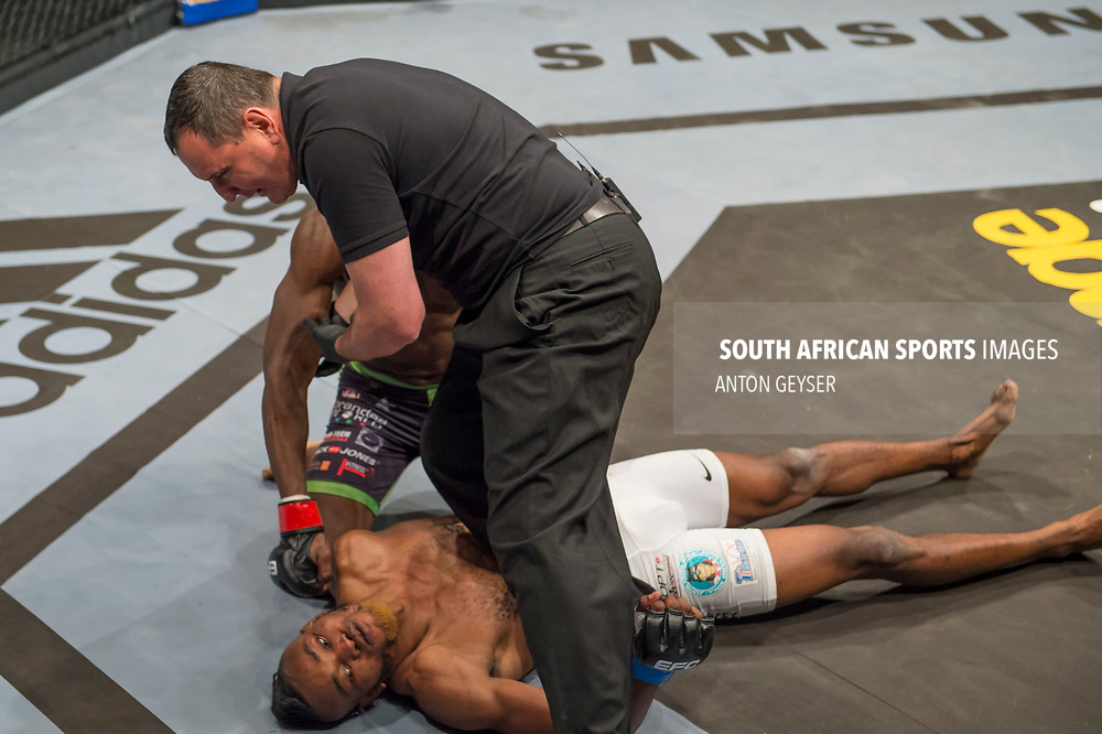 JOHANNESBURG, SOUTH AFRICA - MAY 13: Rob Simbowe knocked out Anicet Kanyeba during EFC 59 Fight Night at Carnival City on May 13, 2017 in Johannesburg, South Africa. (Photo by Anton Geyser/EFC Worldwide/Gallo Images)