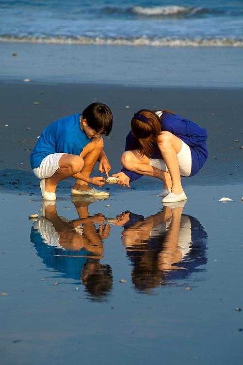 Boy and girl gathering seashellls at the beach.