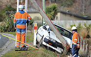 Luggate-Crash, Small Car Crashes into a Power Pole Due to Ice, 15 July 2013