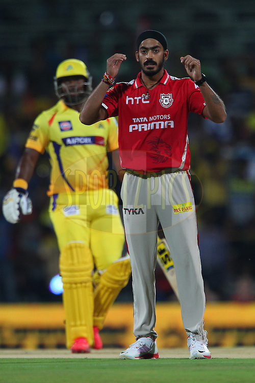 Anureet Singh of Kings XI Punjab looks on to see if Mitchell Johnson of Kings XI Punjab takes the catch during match 24 of the Pepsi IPL 2015 (Indian Premier League) between The Chennai Superkings and The Kings XI Punjab held at the M. A. Chidambaram Stadium, Chennai Stadium in Chennai, India on the 25th April 2015.<br /> <br /> Photo by:  Ron Gaunt / SPORTZPICS / IPL