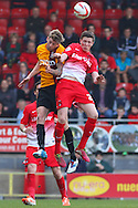 John Lundstram of Leyton Orient in his first game following a loan move from Everton (right) and Jonathan Stead of Bradford City currently on loan from Huddersfield in an aerial battle during the Sky Bet League 1 match at the Matchroom Stadium, London<br /> Picture by David Horn/Focus Images Ltd +44 7545 970036<br /> 29/03/2014