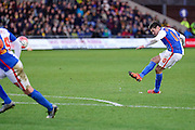 Blackburn Rovers Midfielder Ben Marshall scores Blackburns third from a free kick during the The FA Cup Fourth Round match between Oxford United and Blackburn Rovers at the Kassam Stadium, Oxford, England on 30 January 2016. Photo by Dennis Goodwin.