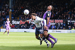 Nicky Maynard of Bury and Leon Legge of Port Vale challenge for the ball - Mandatory by-line: JMP - 04/05/2019 - FOOTBALL - Gigg Lane - Bury, England - Bury v Port Vale - Sky Bet League Two