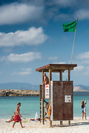 Formentera, Spain, October 2017. Playa de Levante and Playa de illetas. Formentera is the smallest of Spain's Balearic islands in the Mediterranean Sea. It's reachable by ferry from its more crowded, better known island neighbor, Ibiza, and makes for a popular day-trip destination in the summertime. It's known for its clear waters and long stretches of beach backed by dunes and pine trees. Pastimes include snorkeling and sailing, with equipment rentals and boat charters available. Photo by Frits Meyst / MeystPhoto.com