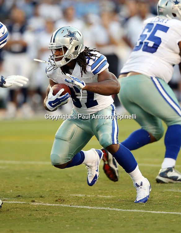Dallas Cowboys running back Gus Johnson (37) runs the ball during the 2015 NFL preseason football game against the San Diego Chargers on Thursday, Aug. 13, 2015 in San Diego. The Chargers won the game 17-7. (©Paul Anthony Spinelli)