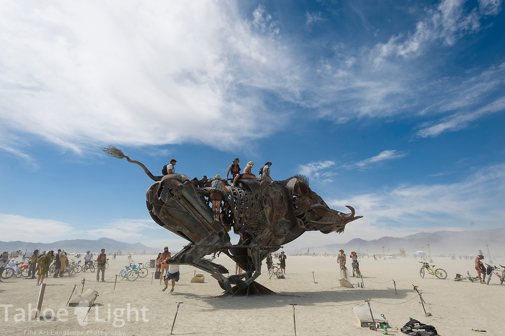 The Burning Man Project in the Black Rock Desert near Gerlach, Nevada, 2016.