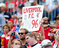 CHARLOTTE, USA - Saturday, August 2, 2014: Liverpool supporter before the International Champions Cup Group B match against AC Milan at the Bank of America Stadium on day thirteen of the club's USA Tour. (Pic by David Rawcliffe/Propaganda)