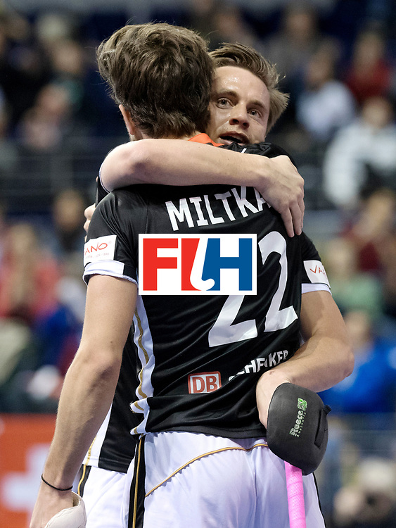 BERLIN - Indoor Hockey World Cup<br /> Men: Germany - Australia<br /> foto: Mats Grambusch celebrates with Marco Miltkau.<br /> WORLDSPORTPICS COPYRIGHT FRANK UIJLENBROEK