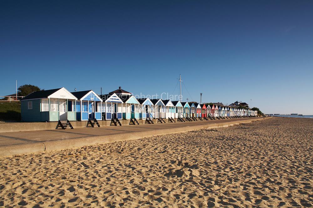 Great Britain England Suffolk Southwold Beach Huts straching along promenade