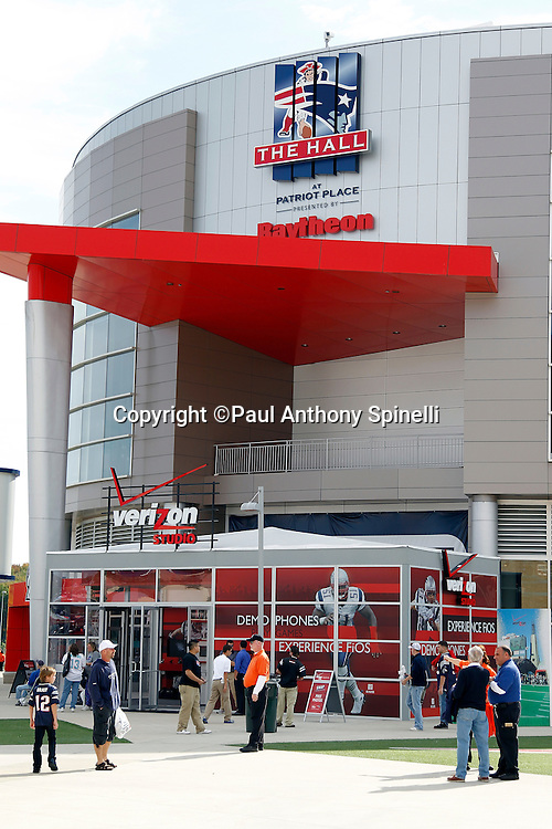 General view of the exterior of Gillette Stadium prior to the New England Patriots NFL regular season week 3 football game against the Buffalo Bills on September 26, 2010 in Foxborough, Massachusetts. The Patriots won the game 38-30. (©Paul Anthony Spinelli)