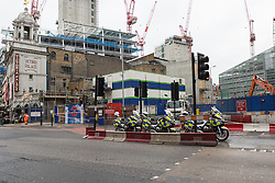 © Licensed to London News Pictures. 19/02/2015. London, UK. View showing the corner of Victoria Street and Bressenden Place near Victoria Station in London where a woman cyclist was involved in a fatal accident with a lorry this morning. Photo credit : Vickie Flores/LNP