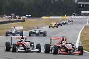 Marcus Armstrong and Robert Shwartzman dice in race 2 of the Castrol Toyota Racing Series at Teretonga, Invercargill on Sunday 21 January 2018.The race was won by Richard Verschoor.<br /> Copyright photo: Bruce Jenkins / www.photosport.nz