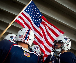 12.07.2011, Tivoli Stadion, Innsbruck, AUT, American Football WM 2011, Group A, United States of America (USA) vs Mexico (MEX), im Bild Feature, USA Flagge und American Football // during the American Football World Championship 2011 Group A game, USA vs Mexico, at Tivoli Stadion, Innsbruck, 2011-07-12, EXPA Pictures © 2011, PhotoCredit: EXPA/ J. Feichter